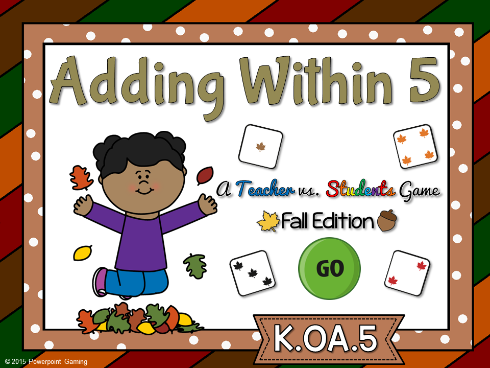 Adding Within 5 Fall Teacher vs Student Game