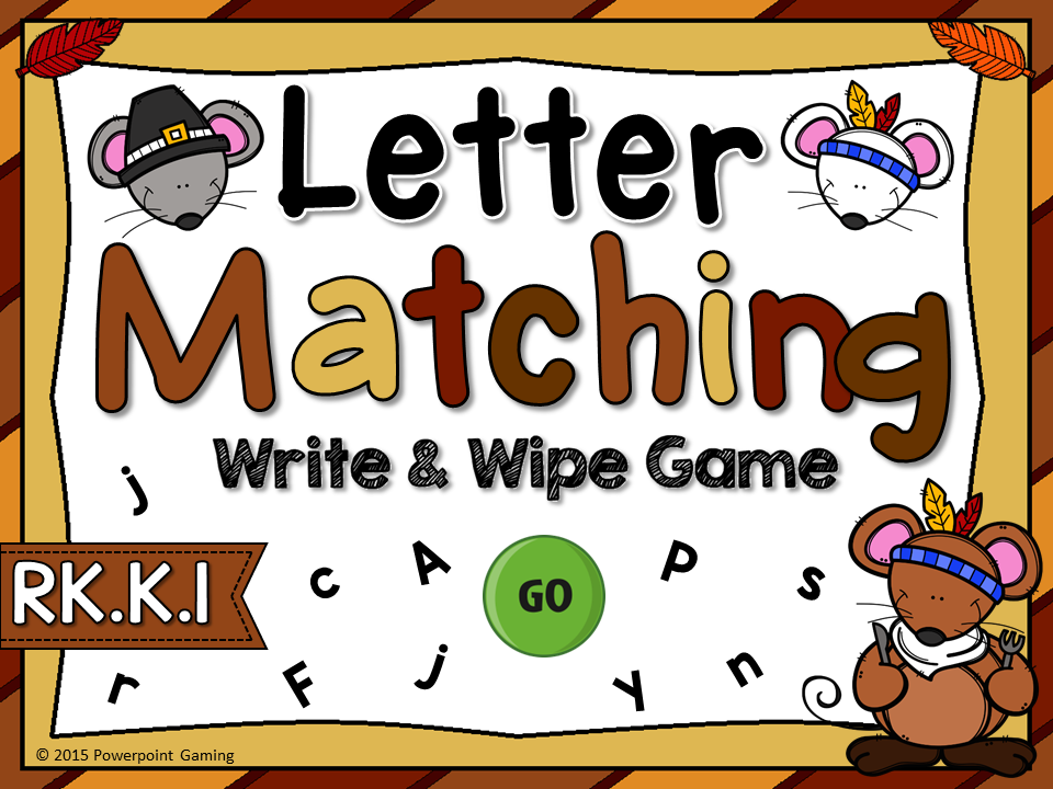 Letter Matching Thanksgiving Write and Wipe Game