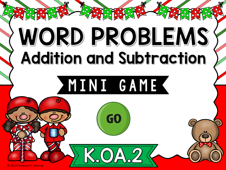 Christmas Addition and Subtraction Word Problems Mini Game