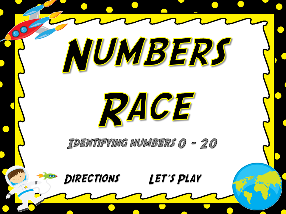 Identifying Numbers 0 - 20 Flash Card Game