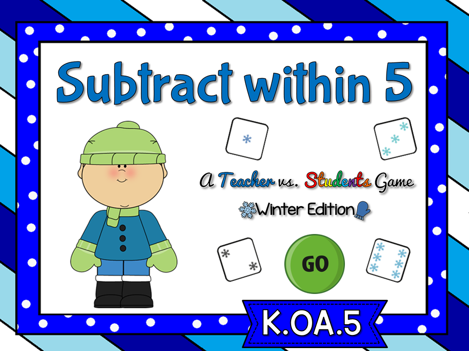 Subtract within 5 Winter Teacher vs Student Game