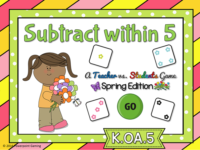 Subtract within 5 Spring Teacher vs Student Game