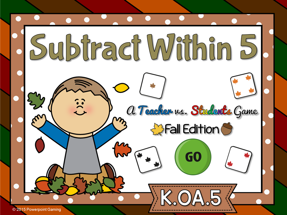 Subtract within 5 Fall Teacher vs Student Game