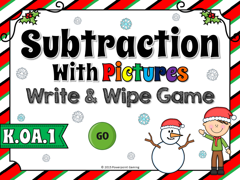 Subtraction with Pictures Wripe and Wipe Game