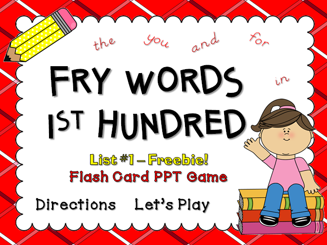 Fry Words 1st 25 Words Flash Card Game