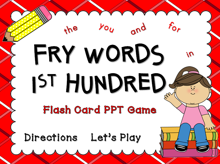 Fry Words 1st Hundred Words Flash Card Game