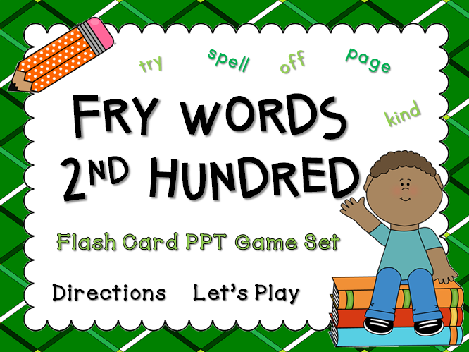 Fry Words 2nd Hundred Words Flash Card Game