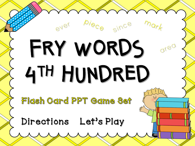 Fry Words 4th Hundred Words Flash Card Game