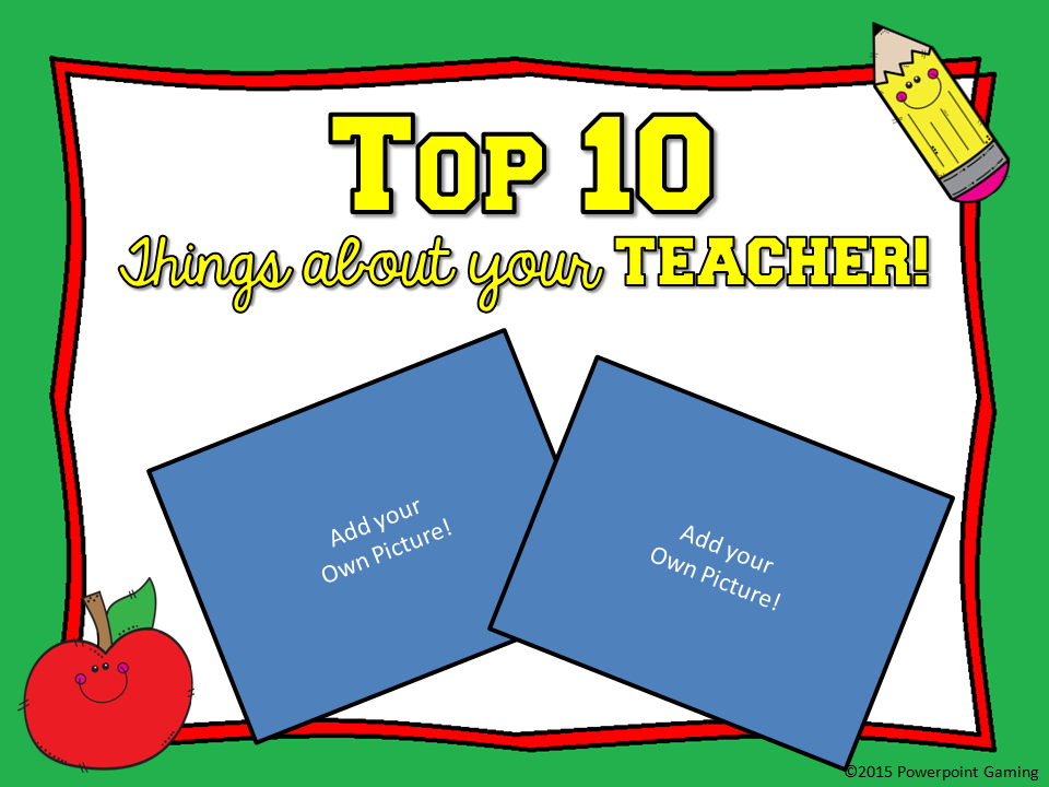 Top 10 Things about Your Teacher Mini Game