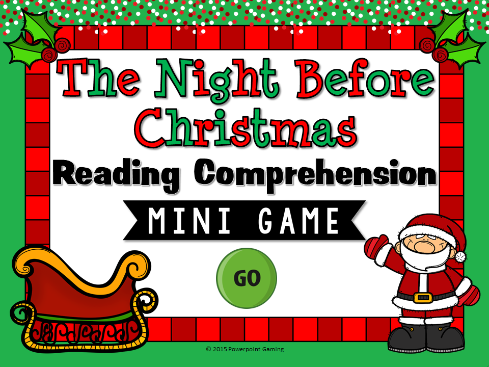 The Night Before Christmas Reading Comprehension Mini Game Cover