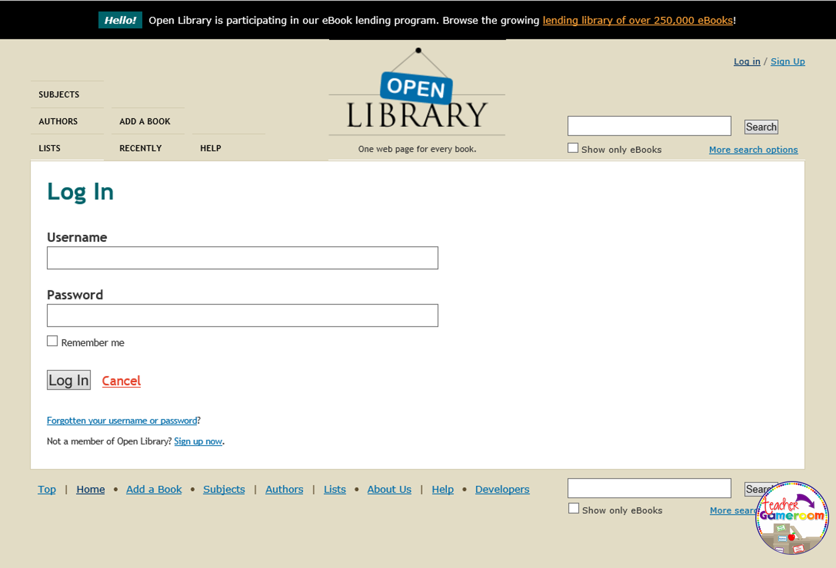 2 - Open Library Log in