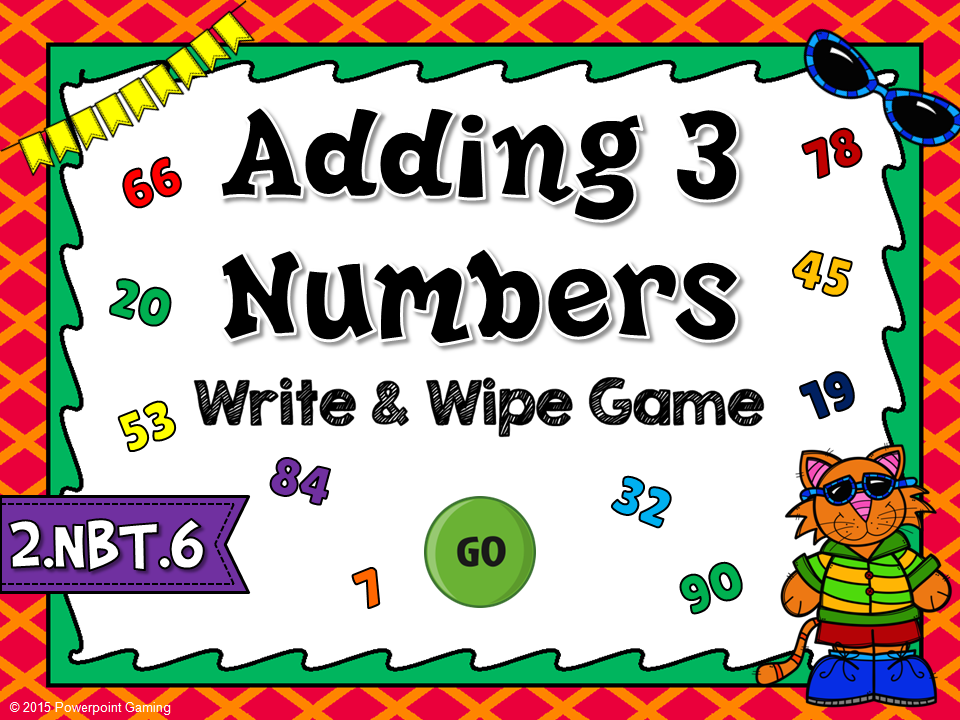 Adding 3 Numbers Write and Wipe Game