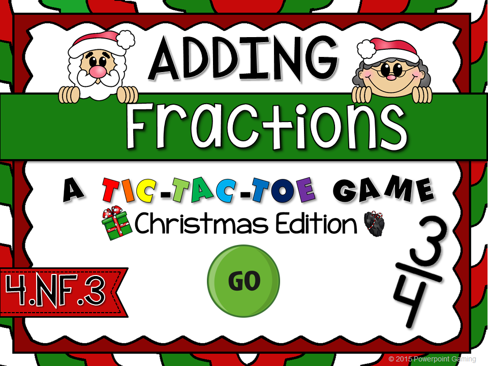 Adding Fractions Christmas Tic-Tac-Toe Game