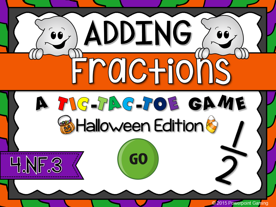 Adding Fractions - Halloween Tic-Tac-Toe Game