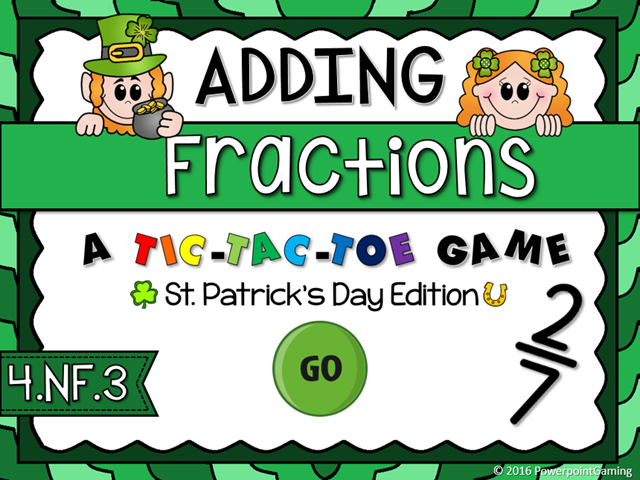 Adding Fractions - St. Patrick's Day Tic-Tac-Toe Game