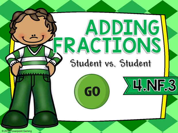 Adding Fractions St. Patrick's Day Student vs Student Game