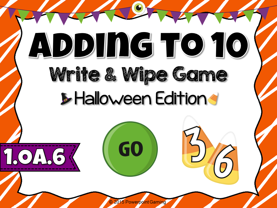 Adding Within 10 Halloween Write and Wipe Game