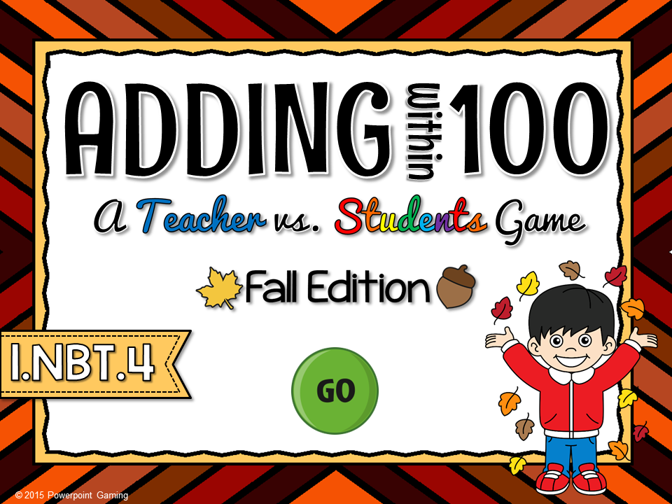 Adding Within 100 Fall Teacher vs Student Game