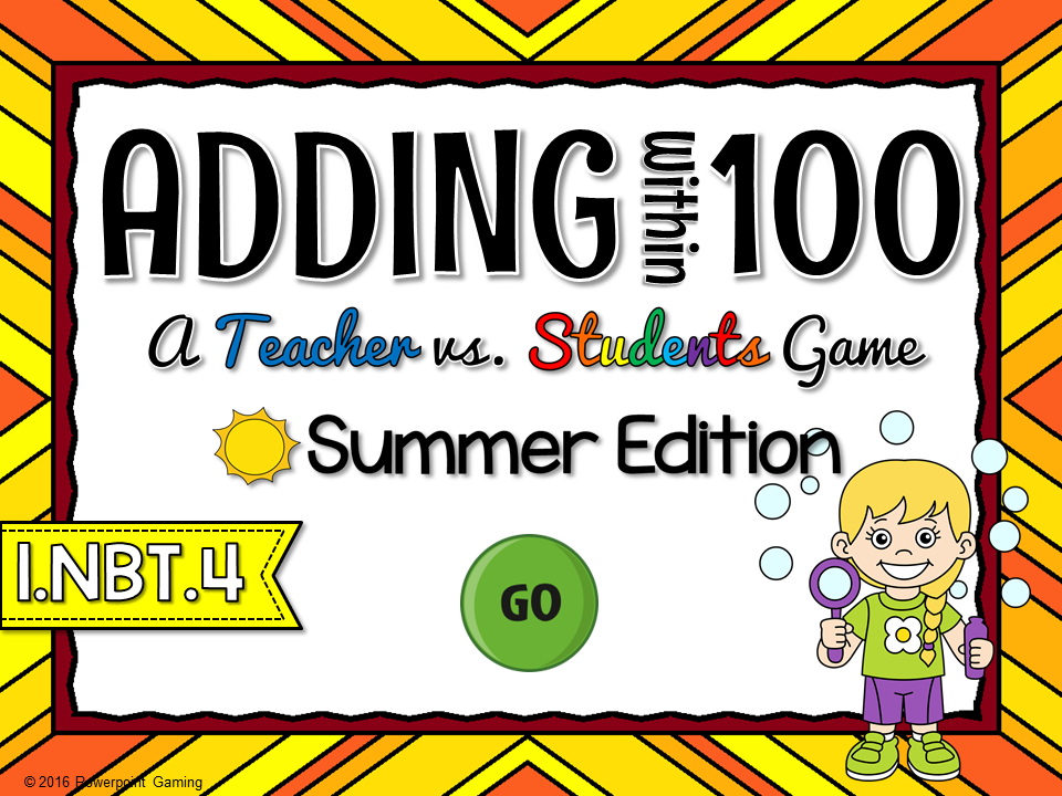 Adding Within 100 Summer Teacher vs Student Game