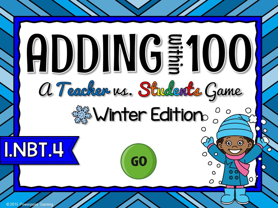 Adding Within 100 Winter Teacher vs Student Game