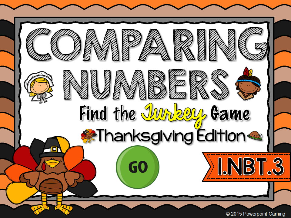 Comparing Numbers - Thanksgiving Find the Star Game