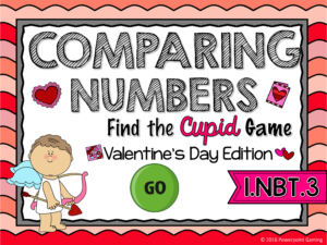 Comparing Numbers - Valentine's Day Find the Star Game