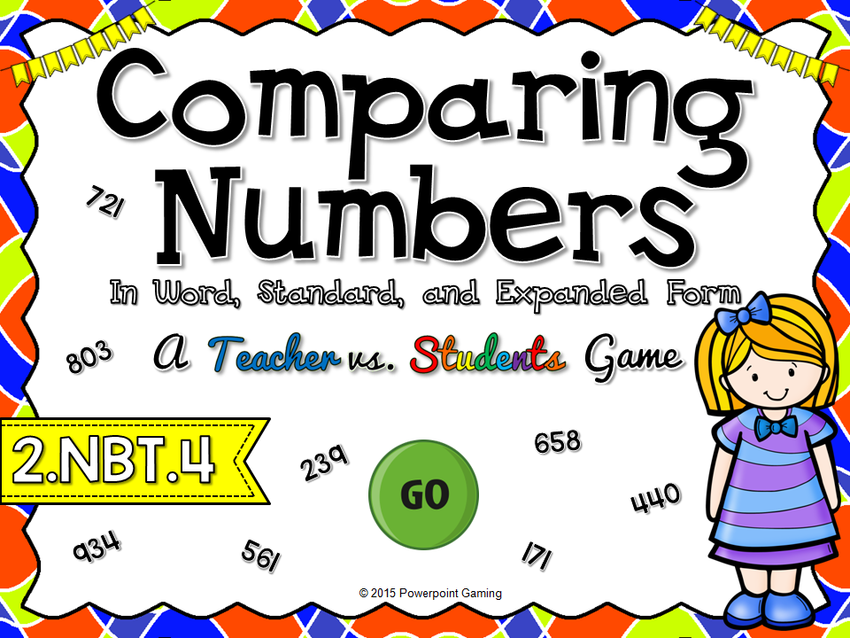 Comparing Numbers in Word, Standard, Expanded Form Teacher vs Student Game
