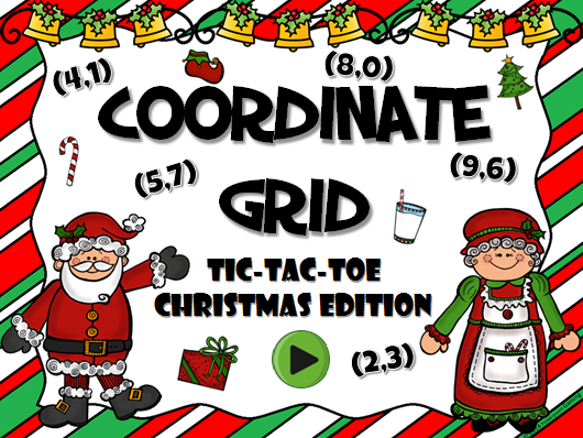 Coordinate Grid Christmas Tic-Tac-Toe Game