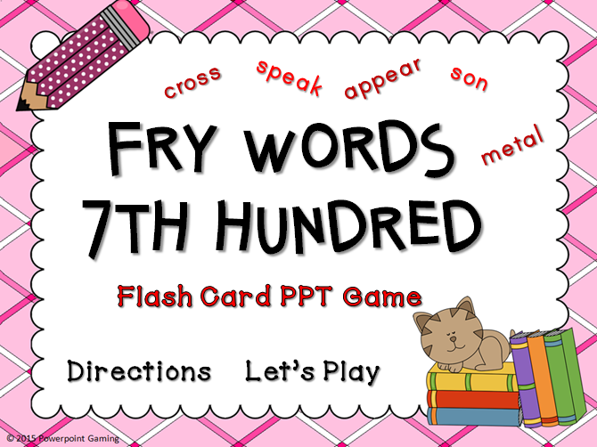 Fry Words 7th Hundred Words Flash Card Game