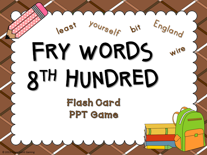 Fry Words 8th Hundred Words Flash Card Game