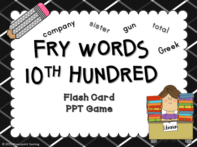 Fry Words 10th Hundred Words Flash Card Game