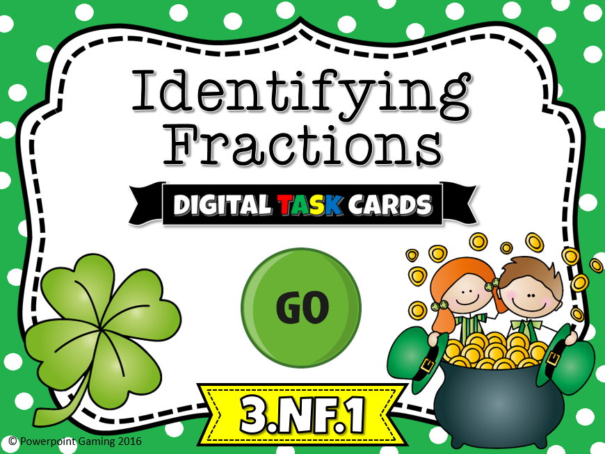 Identifying Fractions Task Cards Cover