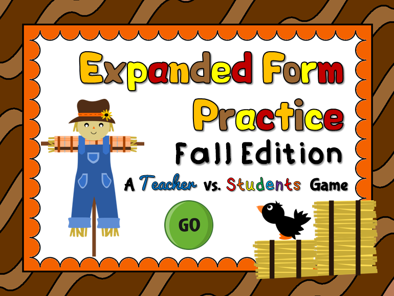 Expanded Form Practice Teacher vs Student Fall Game