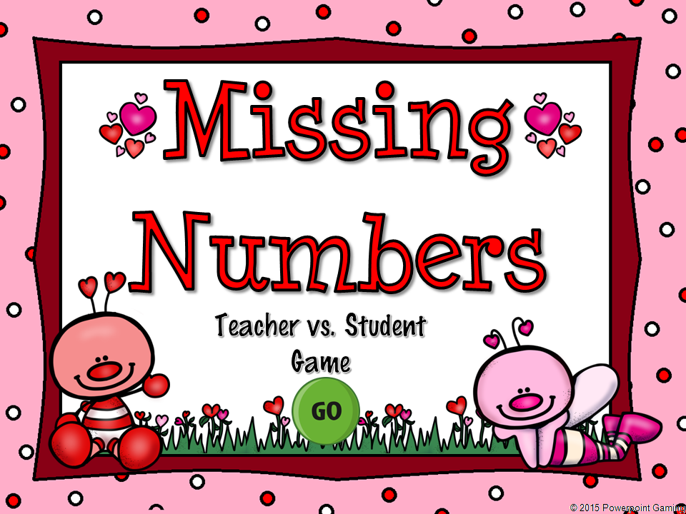 Missing Numbers in Addition Valentine's Day Teacher vs Student Game