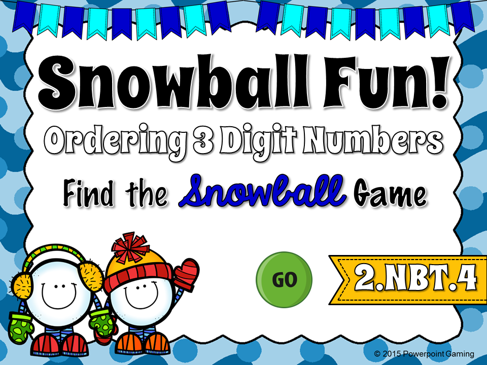 Ordering Number from Least to Greatest Winter Find the Snowball Game