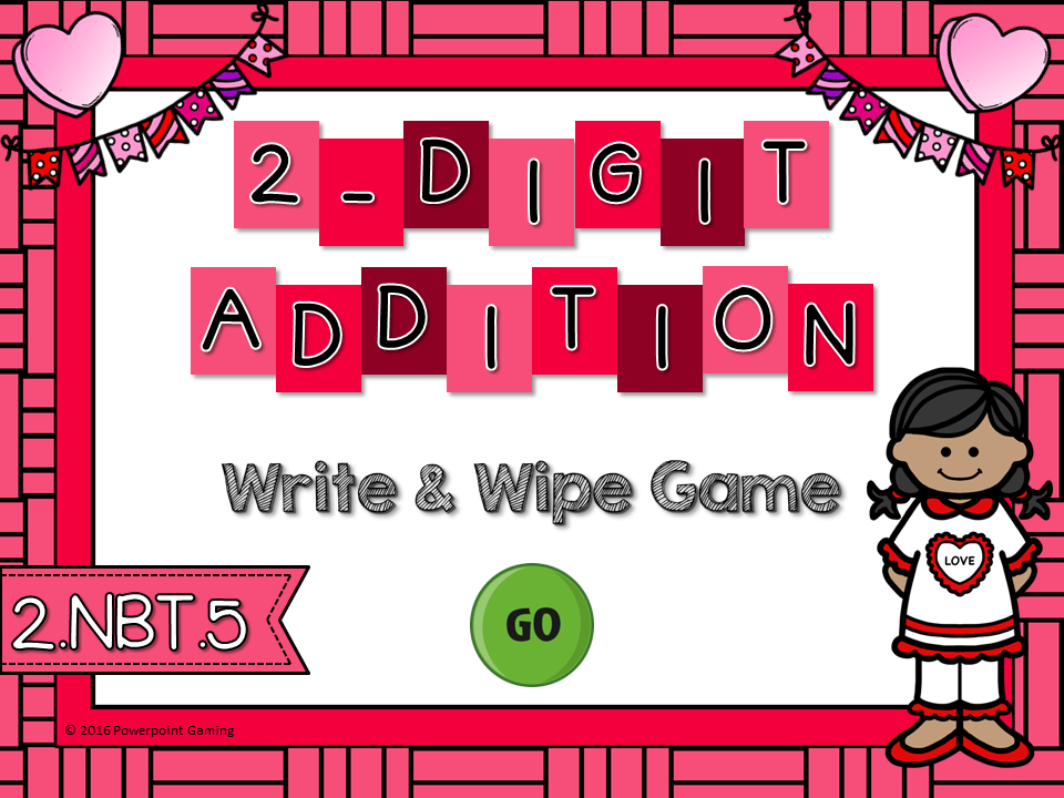 2 Digit Addition Write and Wipe Game