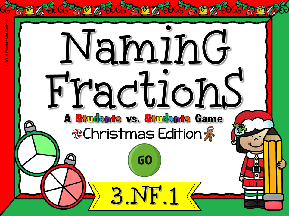 Naming Fractions Christmas Student vs Student Game