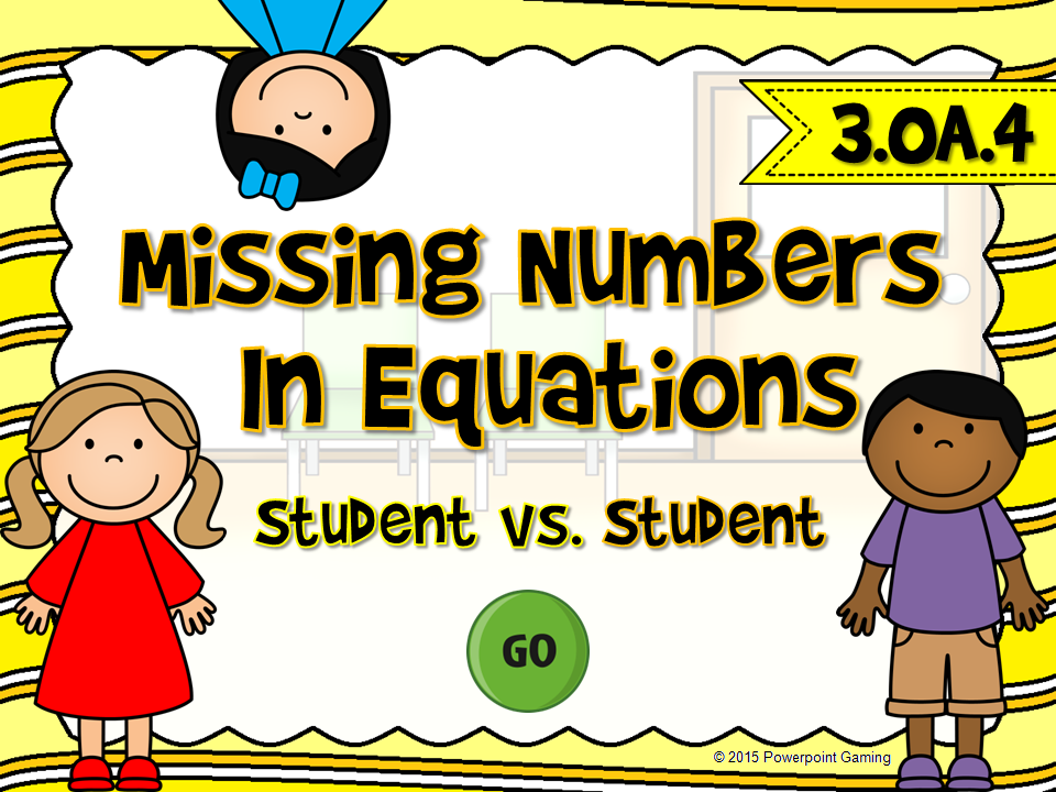 Missing Numbers in Equations Student vs Student Game