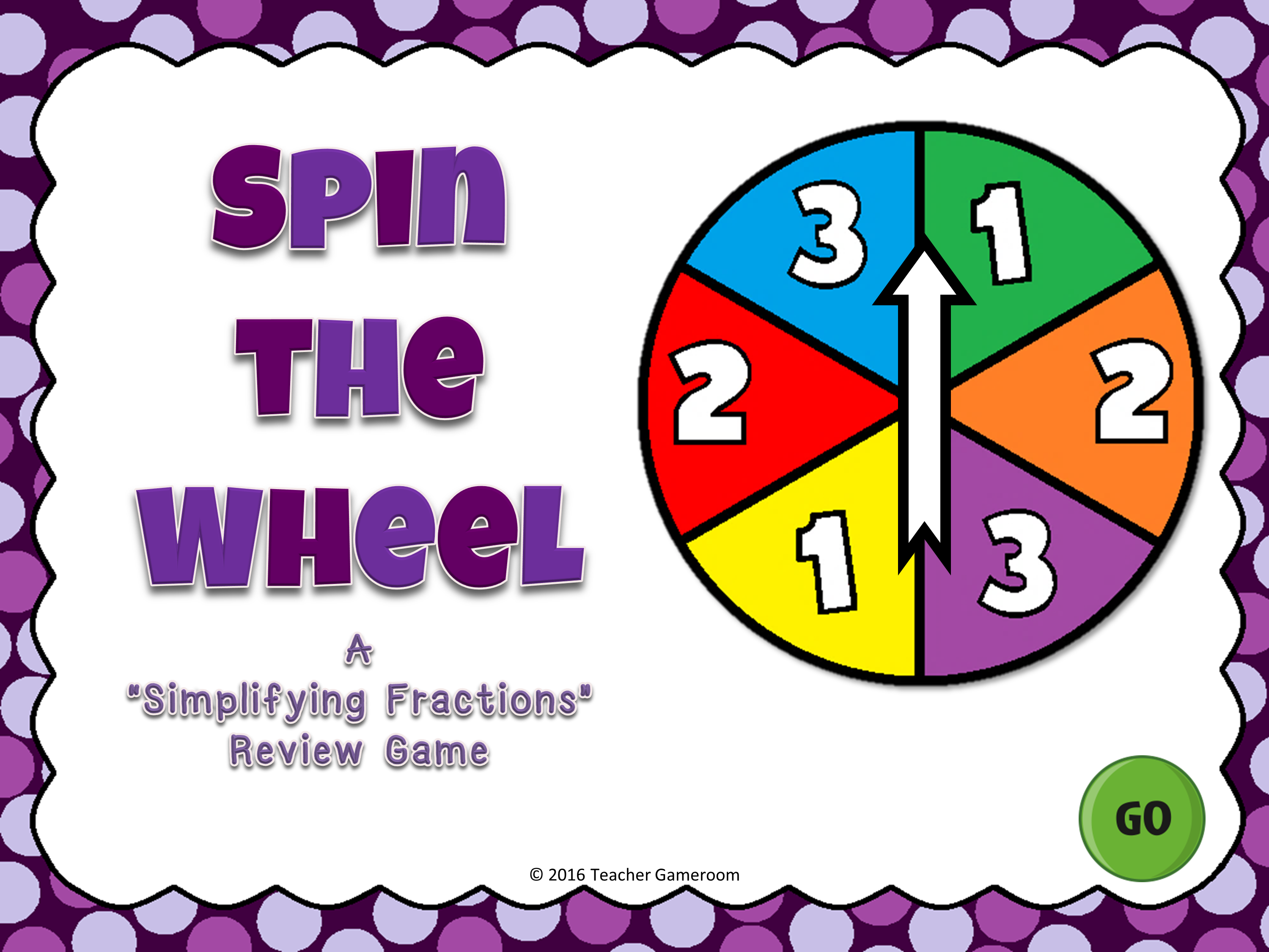 Simplifying Fractions Spin the Wheel Game