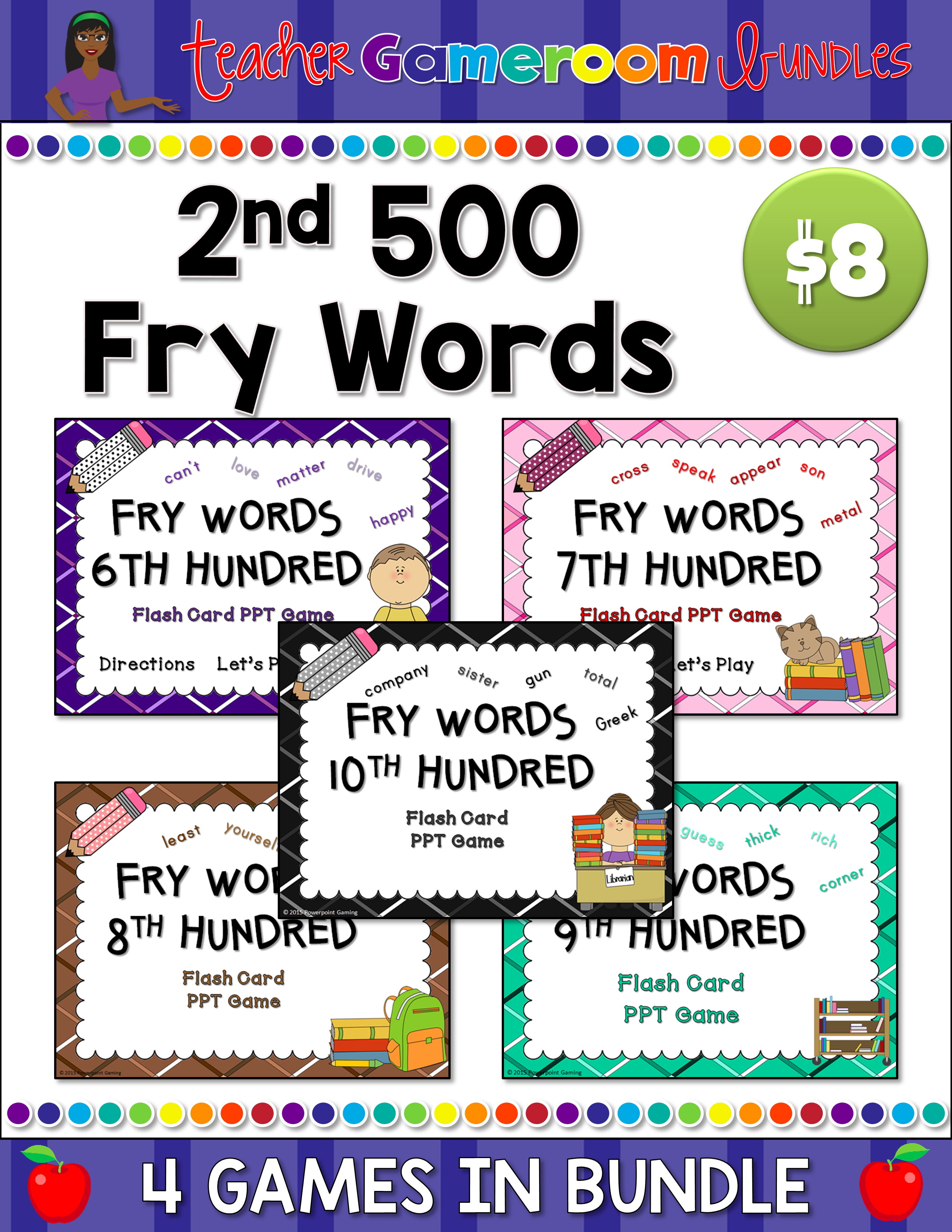 2nd 500 Fry Words Flash Card Bundle