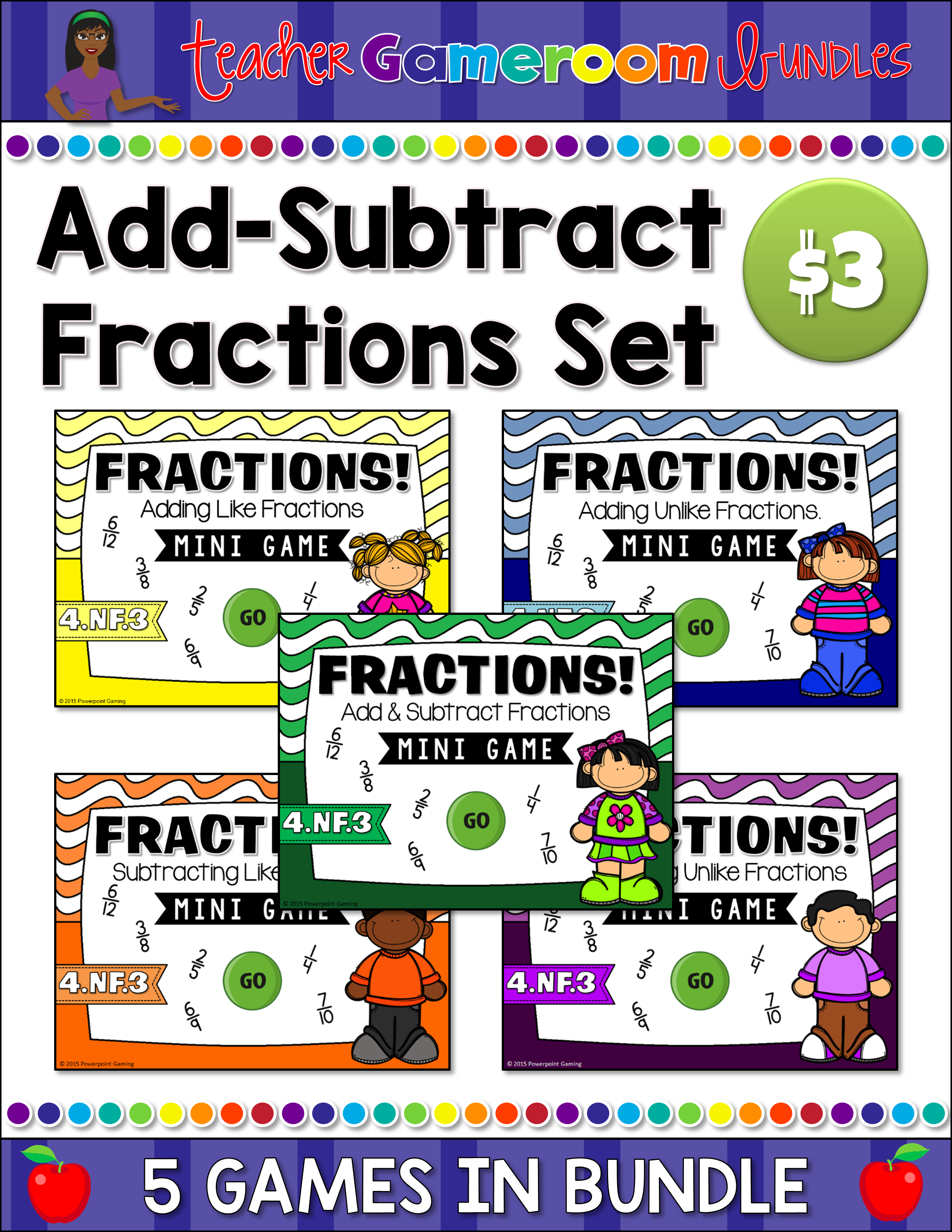 Add-Subtract Like and Unlike Fractions Mini Bundle