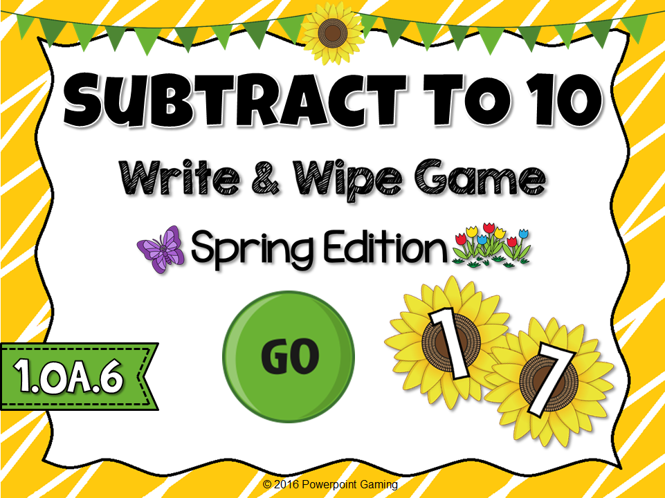Subtracting to 10 Spring Write and Wipe Game