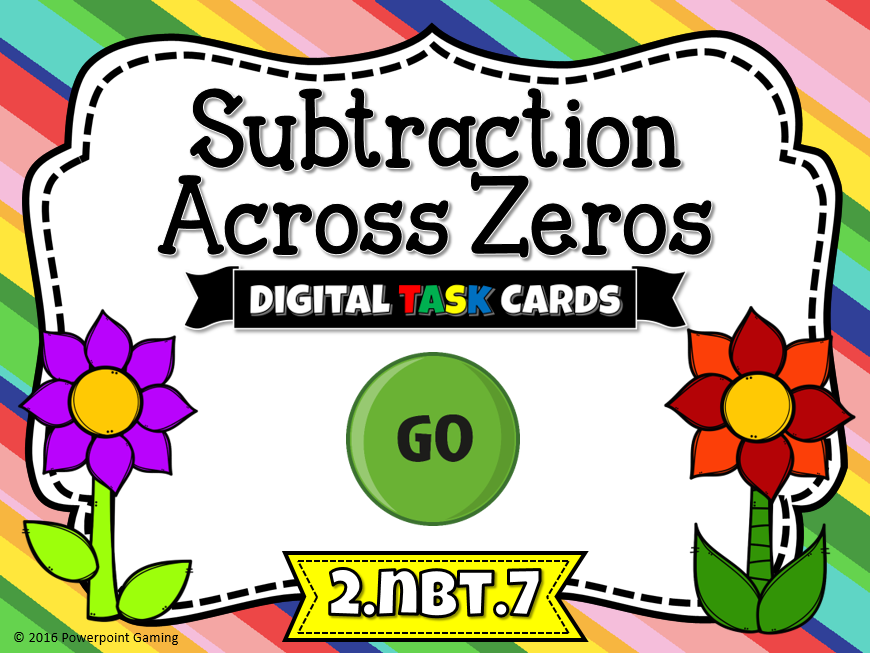 Subtraction Across Zeros Digital Task Cards Game