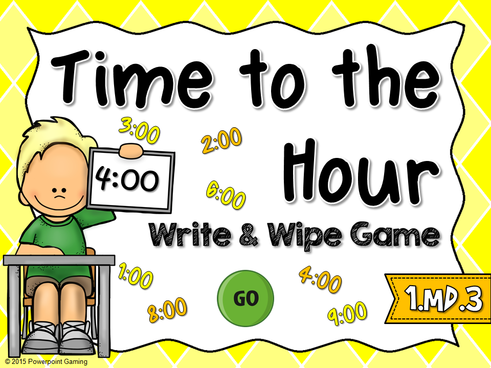 Time to the Hour Write and Wipe Game