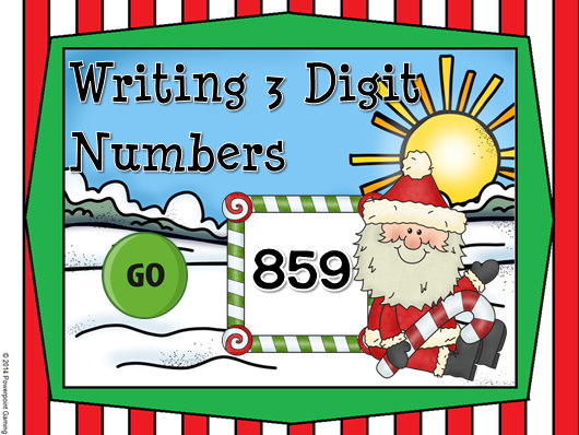 Writing 3 Digit Numbers Christmas Teacher vs Student Game