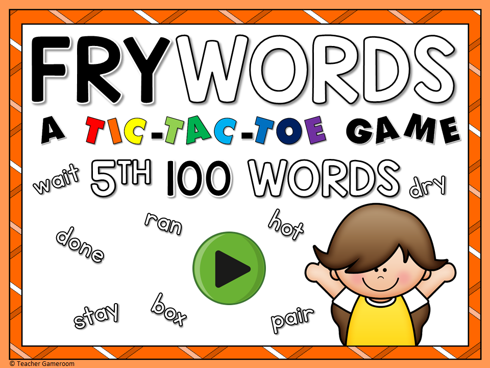 Tic-Tac-Toe Fry Words 5th 100 Game
