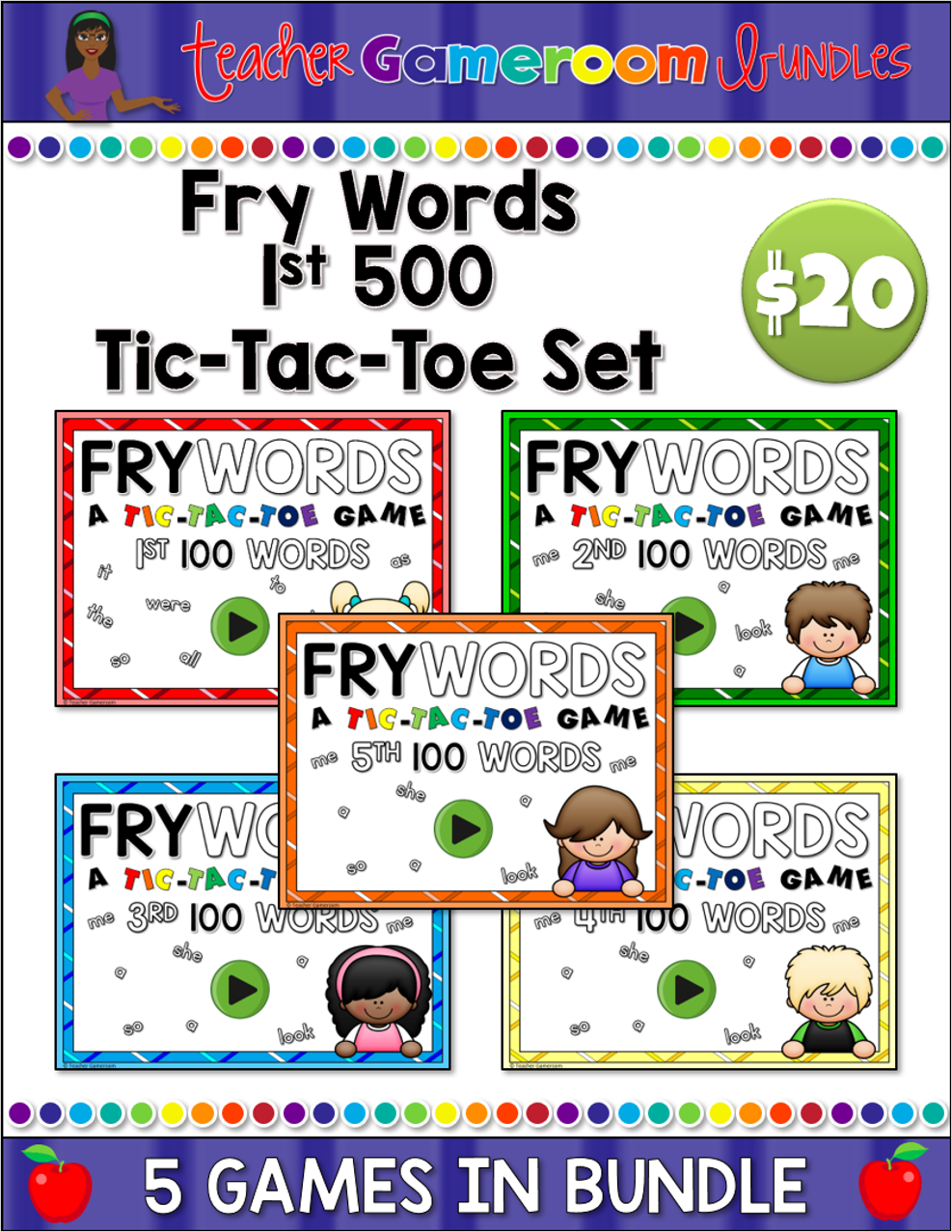 Fry Words 1st 500 Tic-Tac-Toe Complete Set