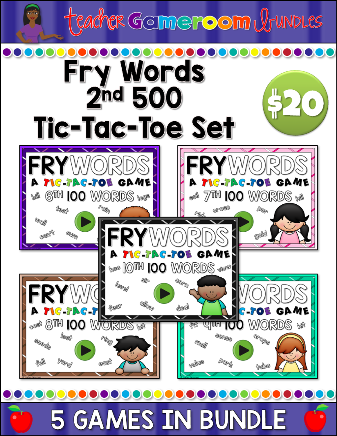 Fry Words 2nd 500 Tic-Tac-Toe Complete Set
