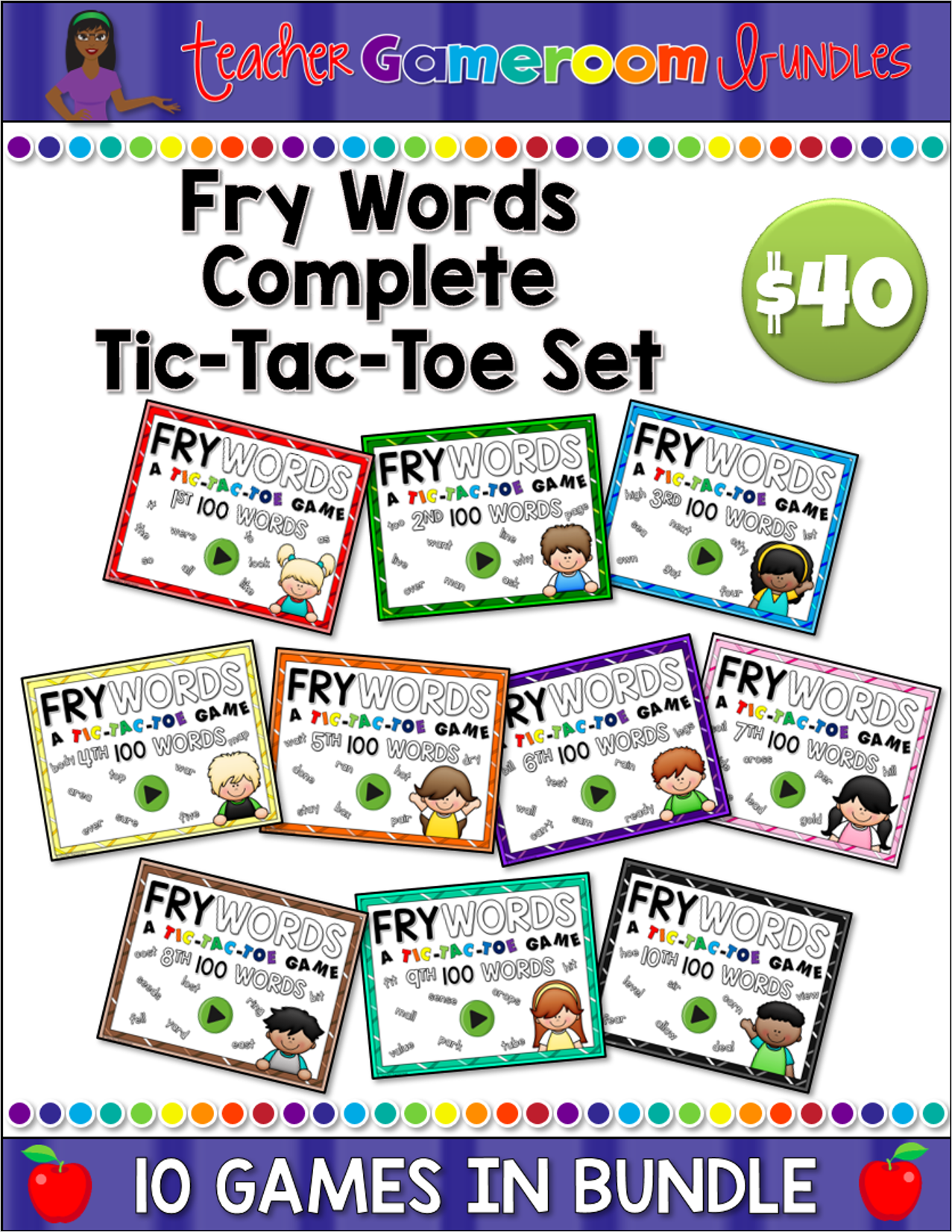Fry Words Complete Tic-Tac-Toe Set