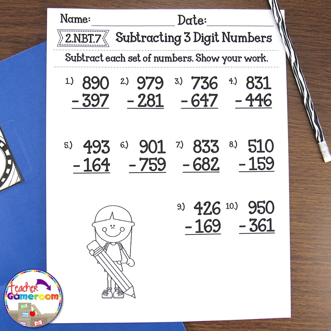 Subtracting 3 Digit Numbers Worksheets Post 1
